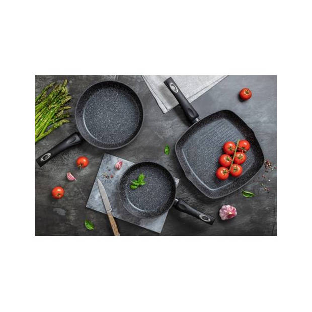 Edënbërg Black Line - Luxe Pannen - Set - 2 x Hapjespan + Grillpan - Zwart