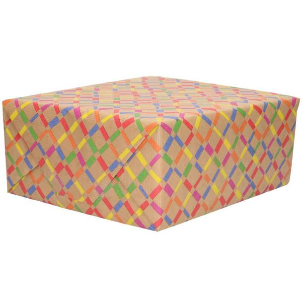 1x Urban nature inpakpapier gekleurde ruiten - 200 x 70 cm - cadeaupapier / verjaardag / kadopapier rollen