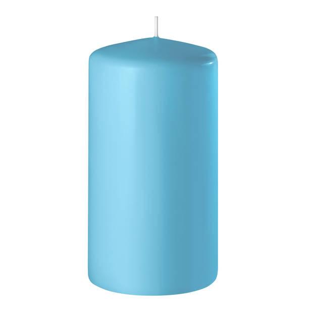 2x Turquoise cilinderkaarsen/stompkaarsen 6 x 8 cm 27 branduren - Geurloze kaarsen turquoise - Woondecoraties