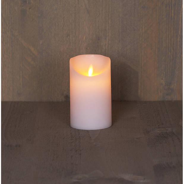 2x Witte LED kaars / stompkaars 12,5 cm - Luxe kaarsen op batterijen met bewegende vlam