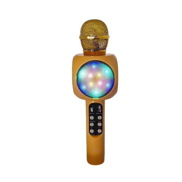 Magic Karaoke Microfoon Draadloos met Speaker - met Discolichten - Goudkleurig