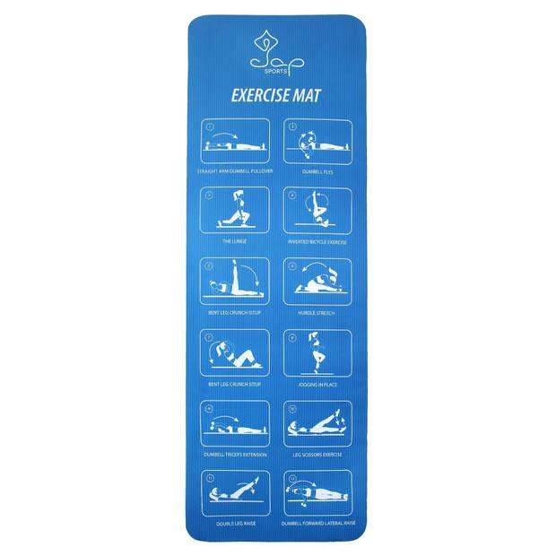 JAP Sports Sportmat met oefeningen - Trainings mat - Fitnessmat - Yogamat - Sport matje - Blauw