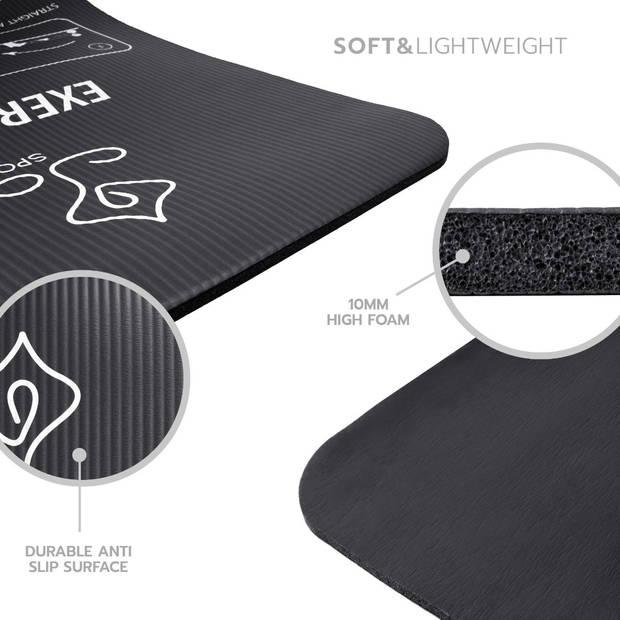 JAP Sports Sportmat met oefeningen - Trainings mat - Fitnessmat - Yogamat - Sport matje - Zwart