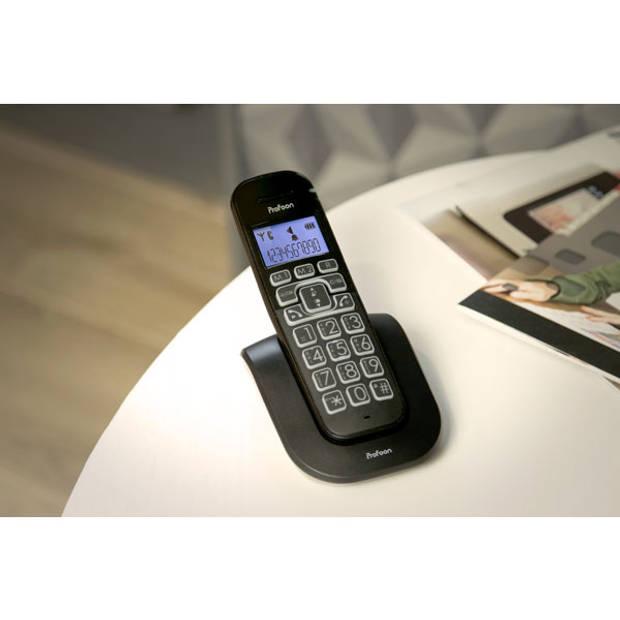 Profoon PDX-2808 DECT telefoon met grote toetsen en 1 handset, zwart