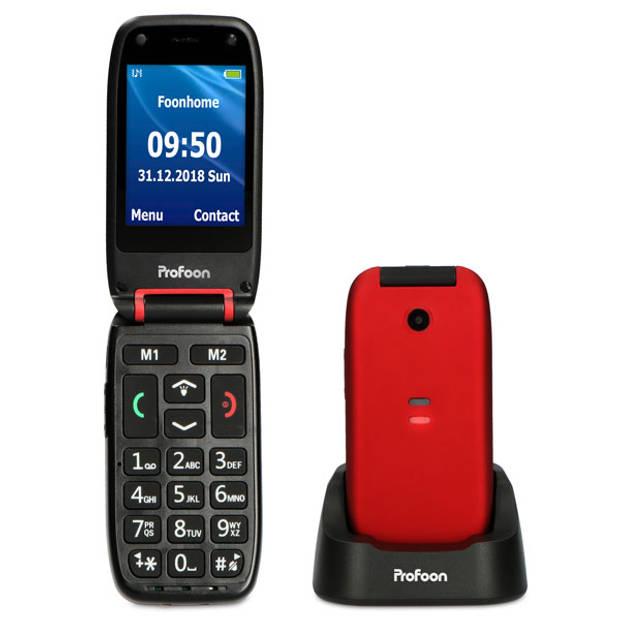Profoon PM-665 Eenvoudige mobiele klaptelefoon met SOS noodknop, zwart/rood