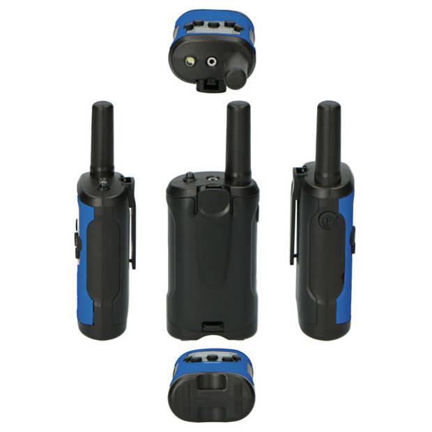 Alecto FR-115BW Set van twee walkie talkies voor kinderen - tot 7 kilometer bereik, wit/blauw