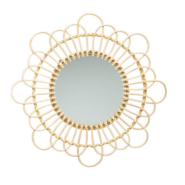 Blokker spiegel Cécile - rotan - ø44 cm