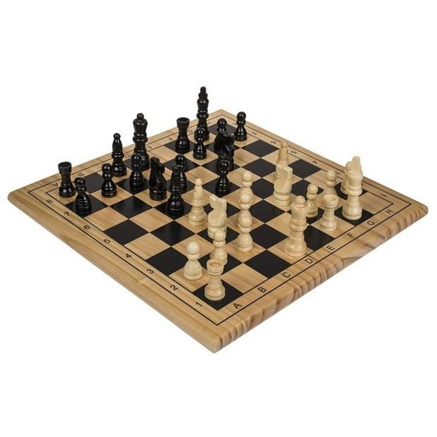 Houten schaakspel met schaakstukken en bord 28 x 28 cm - Denkspellen - Schaken