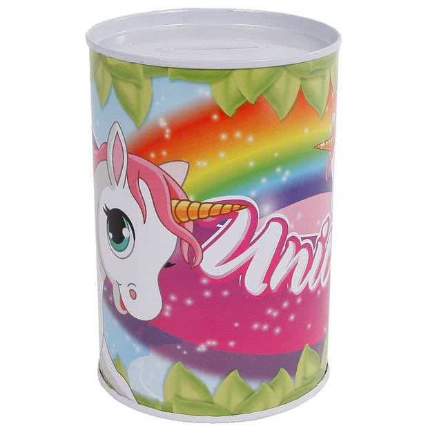 Van Manen spaarpot Unicorn meisjes staal 8,5 x 11,5 cm