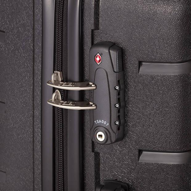 TravelZ Big Bars Kofferset Trolleyset 2-delig Handbagage + Groot Zwart