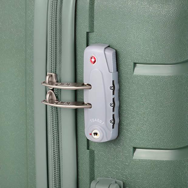 TravelZ Big Bars Kofferset Trolleyset 2-delig Handbagage + Groot Groen