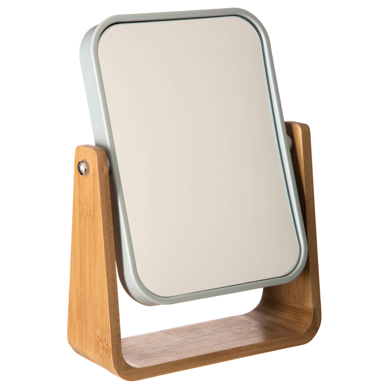 4goodz bamboe make-up spiegeltje 16x22x6 cm wit-bruin