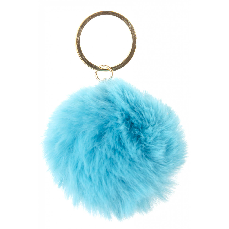 Korting Lg imports Sleutelhanger Pompom Meisjes 6 Cm Pluche Turquoise