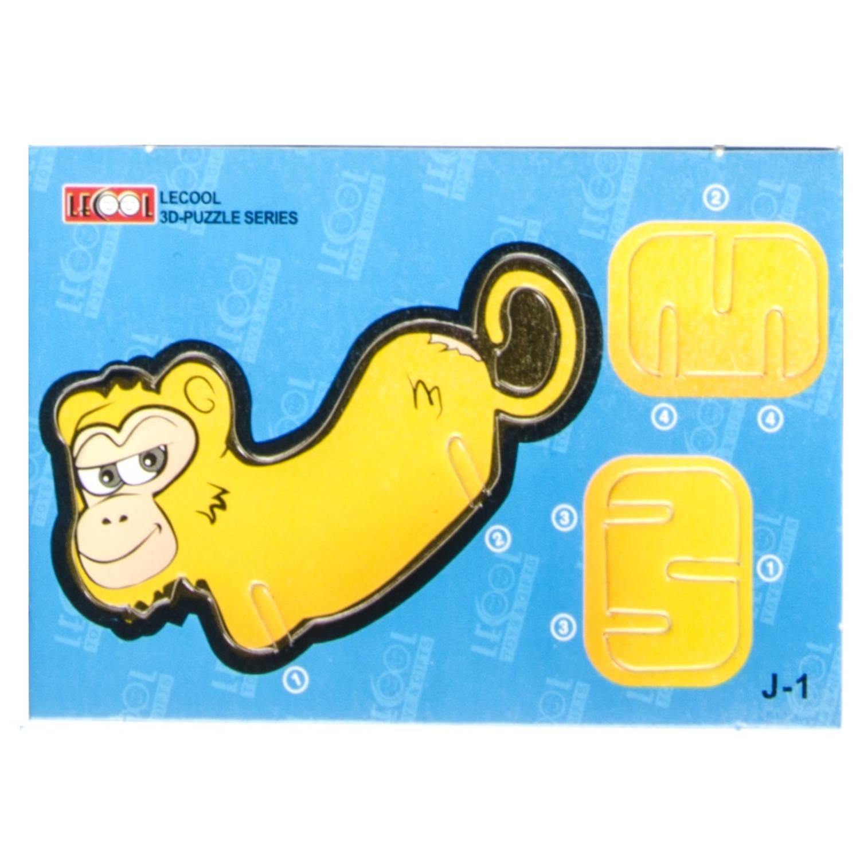Korting Lg imports 3d puzzel Aap Junior 10,5 Cm Karton Geel 7 Stukjes