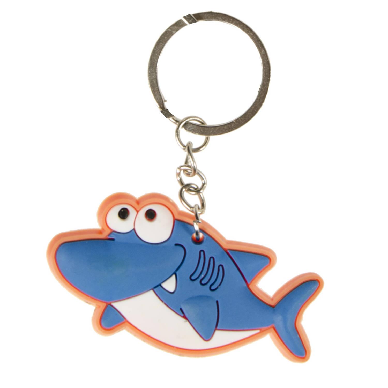 Korting Lg imports Sleutelhanger Haai Junior 6 Cm Rubber Oranje blauw