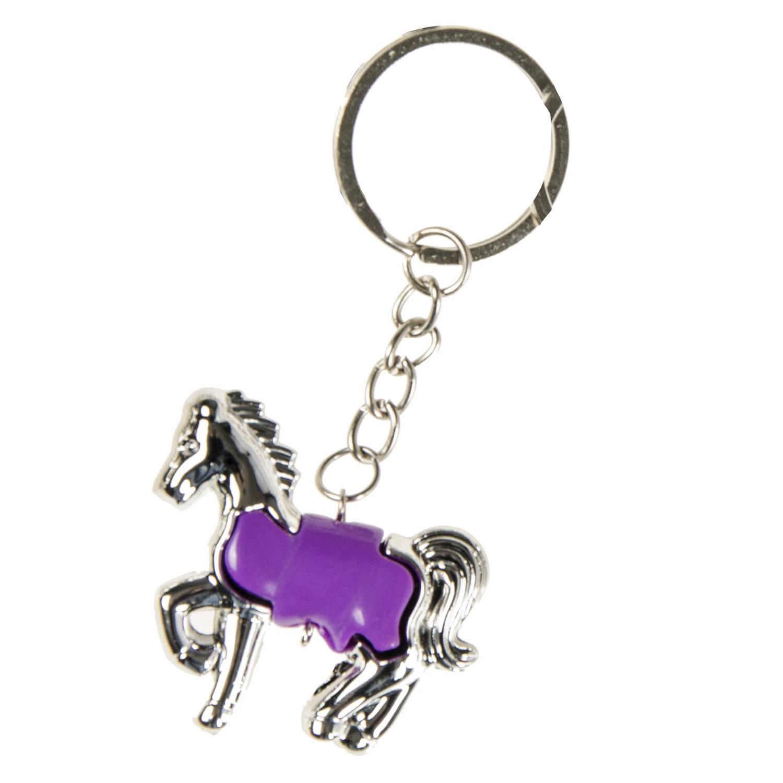 Korting Lg imports Sleutelhanger Paard Junior 5 Cm Zilver paars