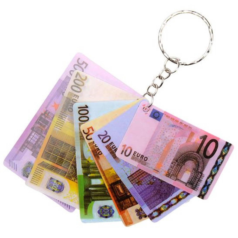 Korting Lg imports Sleutelhanger Eurobiljetten 6,5 X 4 Cm 6 delig
