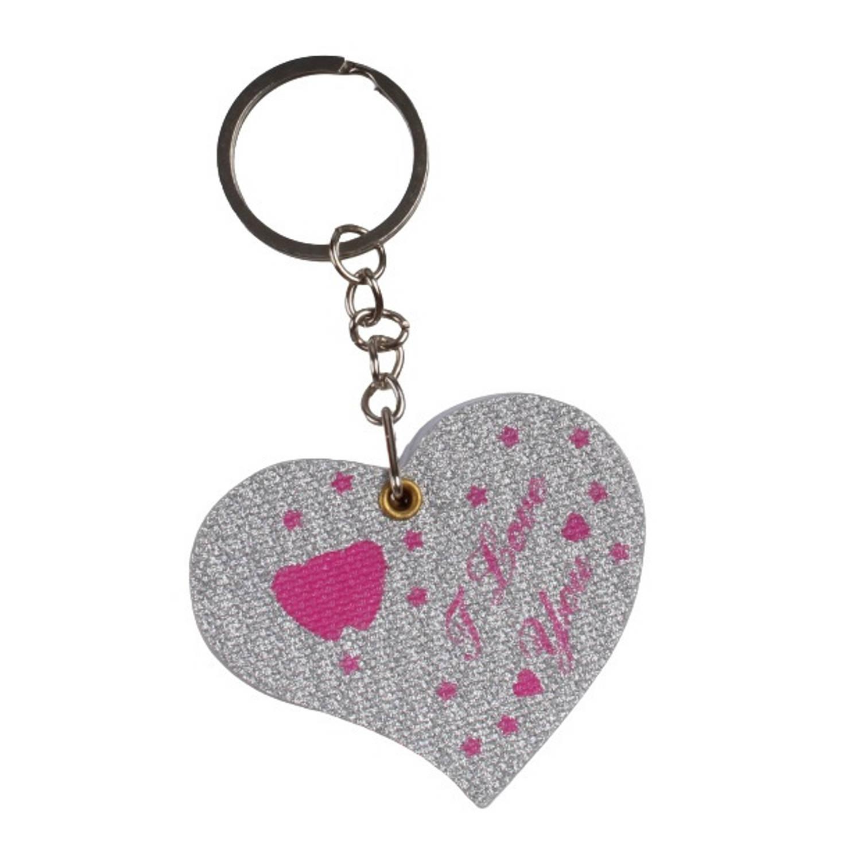 Korting Lg imports Sleutelhanger notitieboekje Hartje Papier Zilver roze