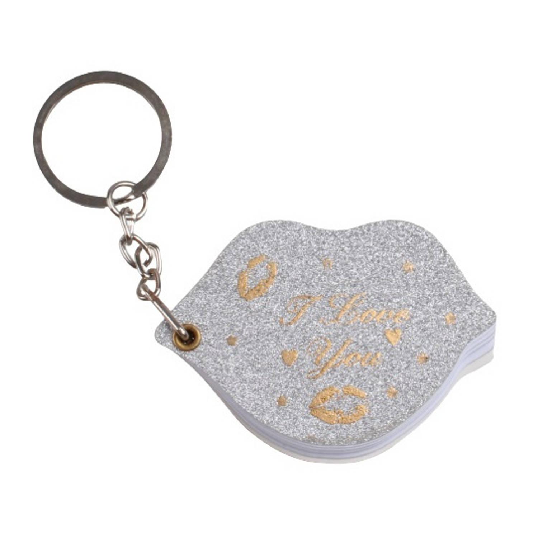 Korting Lg imports Sleutelhanger notitieboekje Lippen Papier Zilver goud