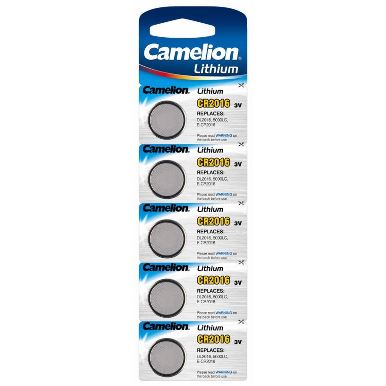 Korting 5x Lithium Knoopcel Batterijen Cr2016 3v Camelion Platte Batterijen 5x Stuks