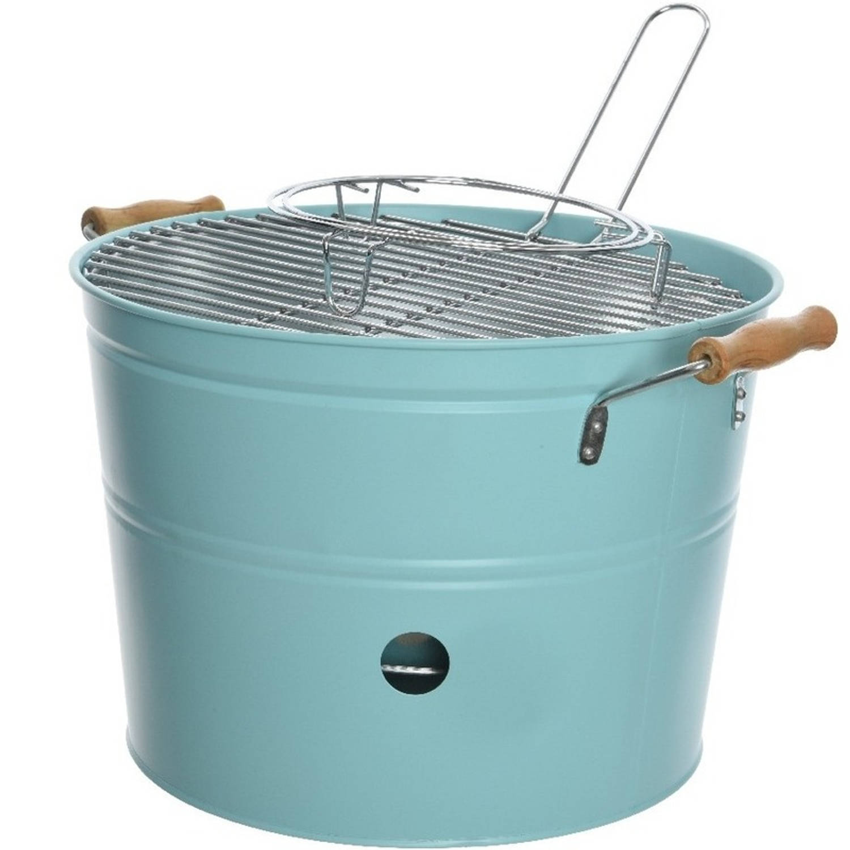 Grote lichtblauwe houtskool barbecue/bbq emmer 33 x 24 cm rond - Houtskoolbarbecues