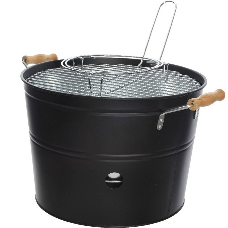Grote zwarte houtskool barbecue/bbq emmer 33 x 24 cm rond - Houtskoolbarbecues