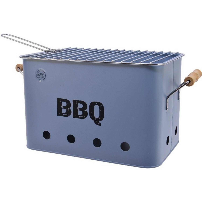 Lichtblauwe houtskool barbecue/bbq emmer 33 x 21 cm rechthoekig - Houtskoolbarbecues