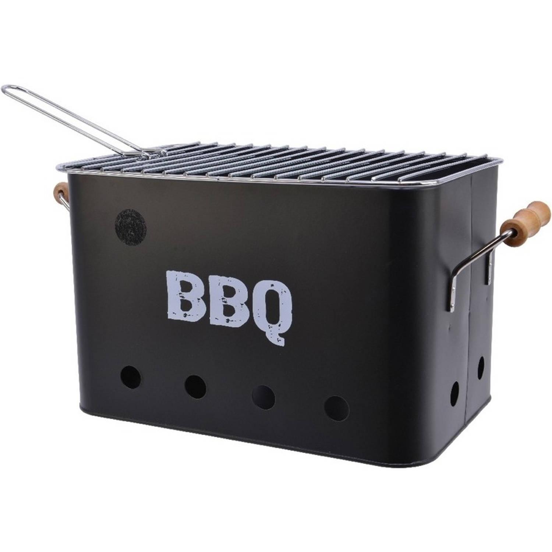 Zwarte houtskool barbecue/bbq emmer 33 x 21 cm rechthoekig - Houtskoolbarbecues
