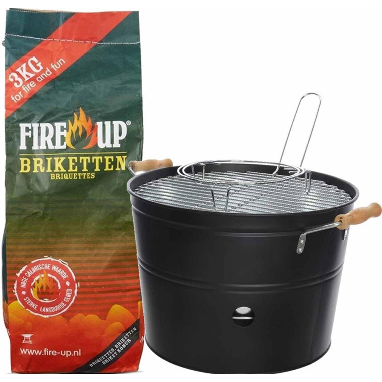 Set van zwarte houtskool barbecue/bbq emmer 27 x 24 cm rond en houtskool briketten 3 kilo - Houtskoo