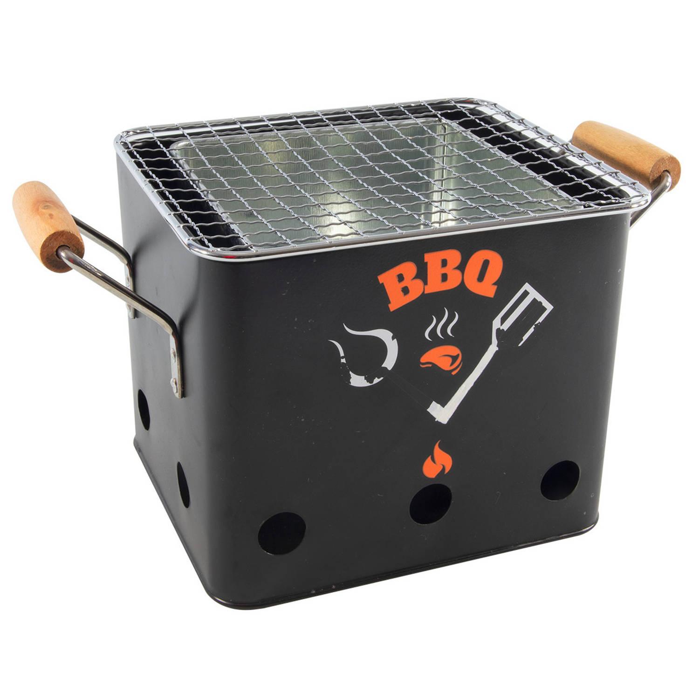 Barbecue/bbq Emmer Zwart Tafelmodel 18 Cm - Mini Houtskoolbarbecues Vierkant