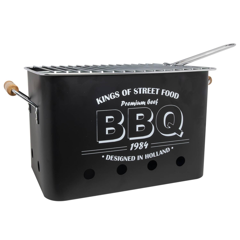 Barbecue/bbq zwart tafelmodel 34 x 22 cm - Houtskoolbarbecues rechthoekig - Imperial Kitchen BBQ