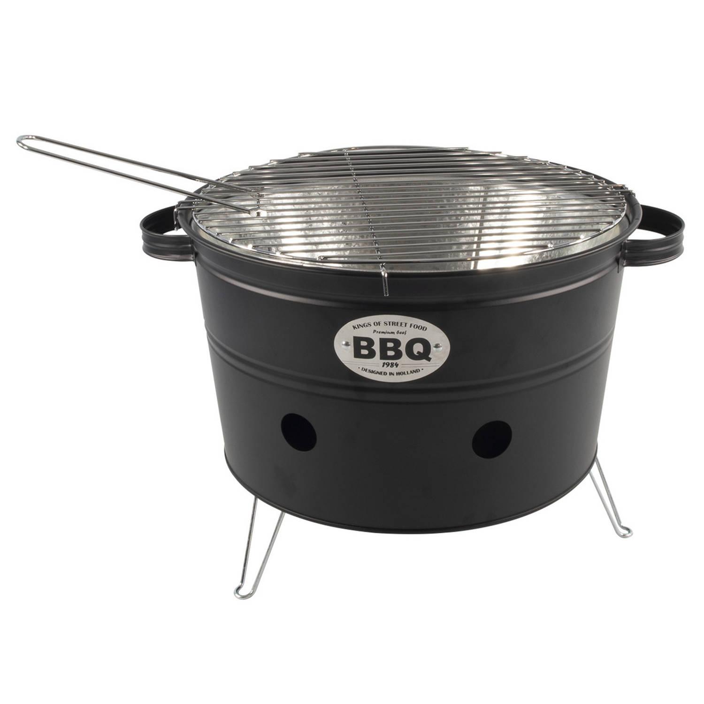 Barbecue/bbq emmer zwart tafelmodel 33 cm - Houtskoolbarbecues rond