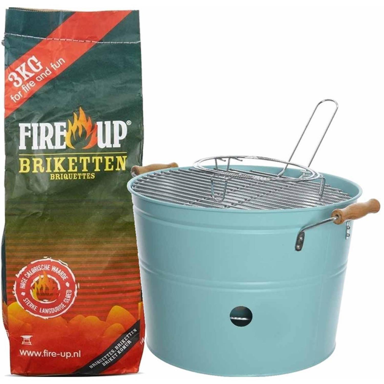 Set van licht blauwe houtskool barbecue/bbq emmer 27 x 24 cm rond en houtskool briketten 3 kilo - Ho