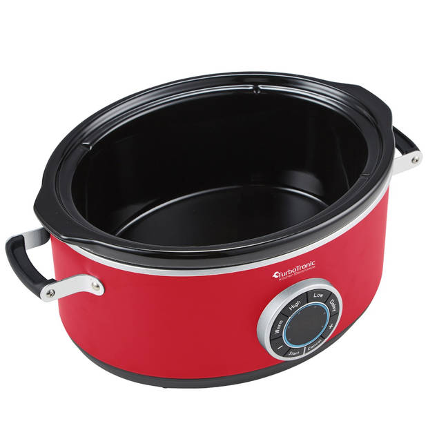 TurboTronic SC200 Slow cooker - 6.5L - 300W - Rood