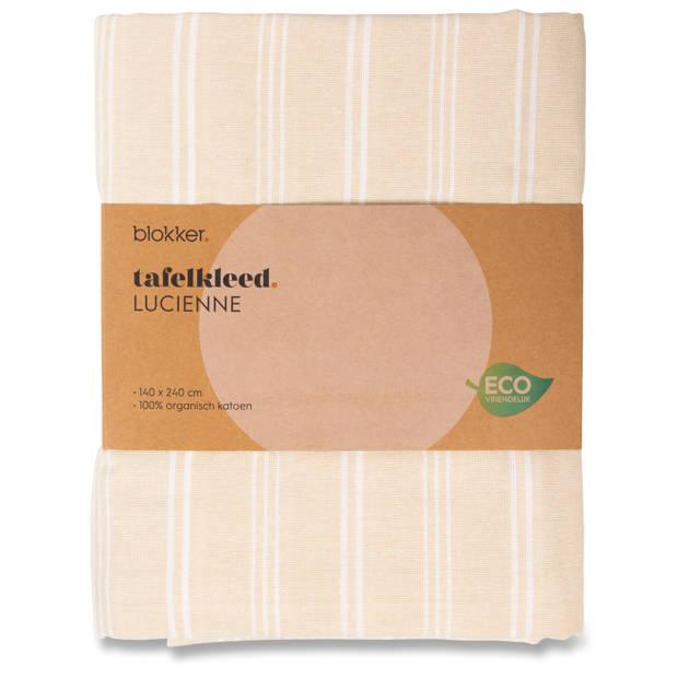 Blokker tafelkleed Lucienne - beige/wit - 140x240 cm