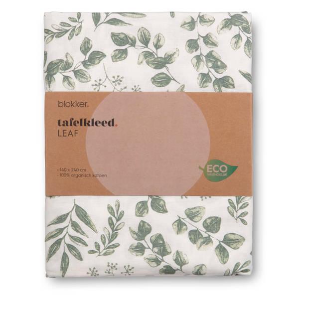 Blokker tafelkleed Leaf - groen/wit - 140x240 cm