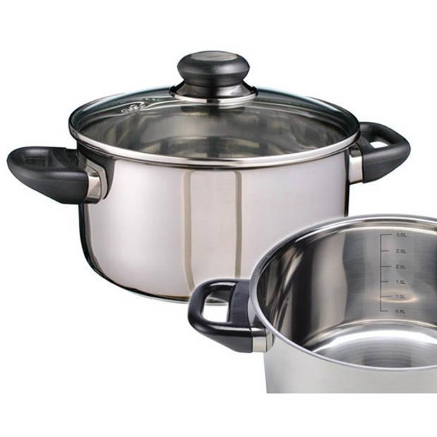 RVS kookpan / pan met glazen deksel 20 cm - kookpannen / aardappelpan - Koken - Keukengerei