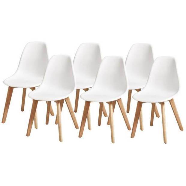 SACHA Set van 6 Hevea-stoelen - Wit - B 46 x D 53 x H 82