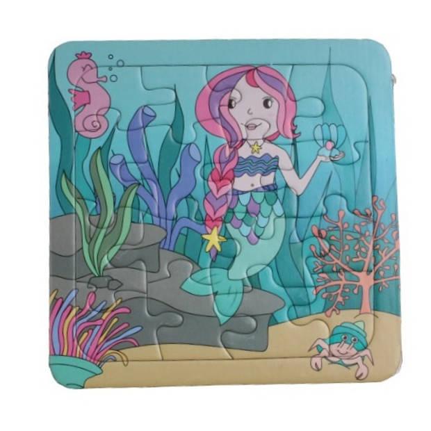 LG-Imports puzzel zeemeermin 14 x 14 cm karton roze 16-delig