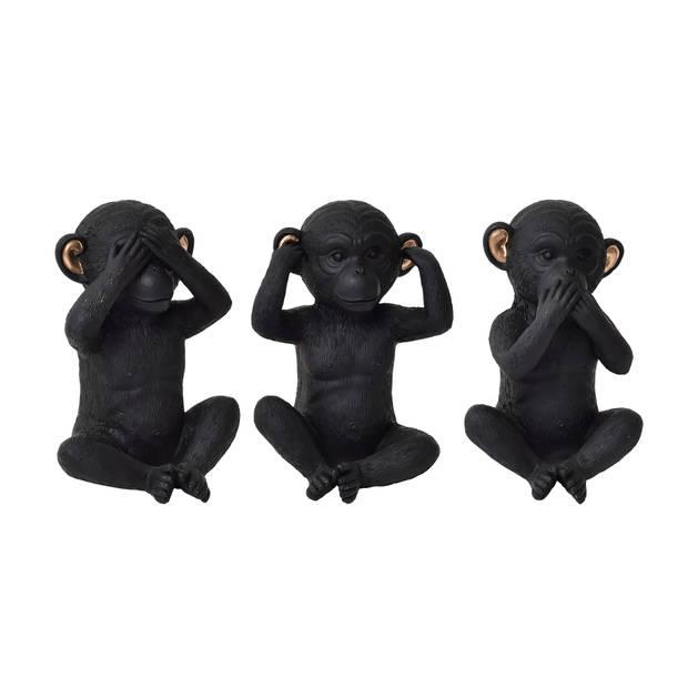 4goodz set deco aapjes 3st zwart/goud - Horen zien en zwijgen Aapjes