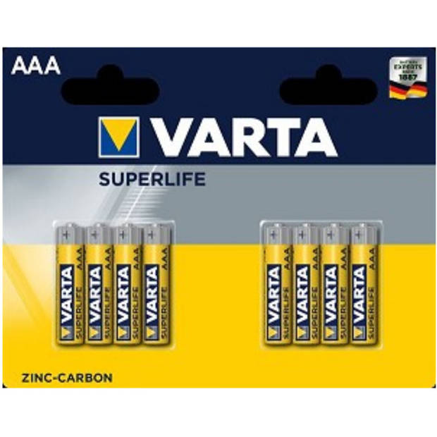 Varta batterijen AAA Superlife R03 1,5V zink-carbon 8 stuks