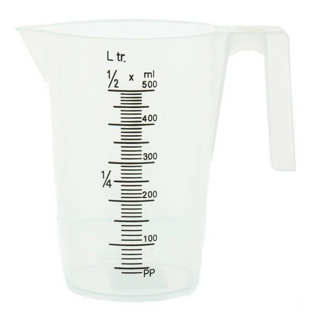 2x Maatbekers transparant 0,5 en 1 liter - Maatbeker - Keuken accessoires en benodigdheden