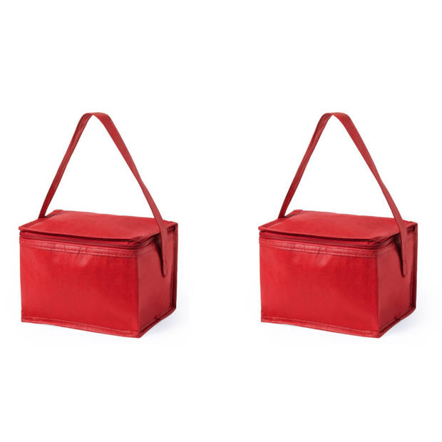 2x stuks kleine mini koeltasjes rood sixpack blikjes - Compacte koelboxen/koeltassen en elementen