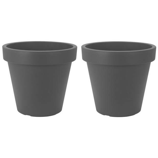 2x Antraciet grijze bloempotten 20 cm - Donker grijze plantenpotten 20 cm