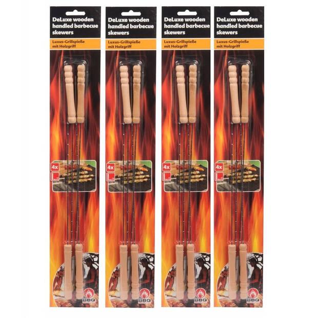 20x Barbecue spiezen/vleespennen/vleesspiezen 38 cm - Metaal/Hout - Barbecue benodigdheden - Spiezen/pennen voor vlees