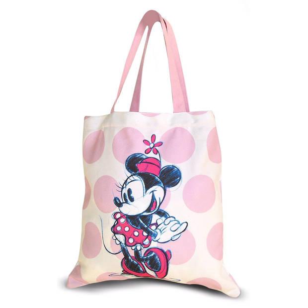 Disney shopper Minnie Mouse 40 x 30 cm katoen roze/crème