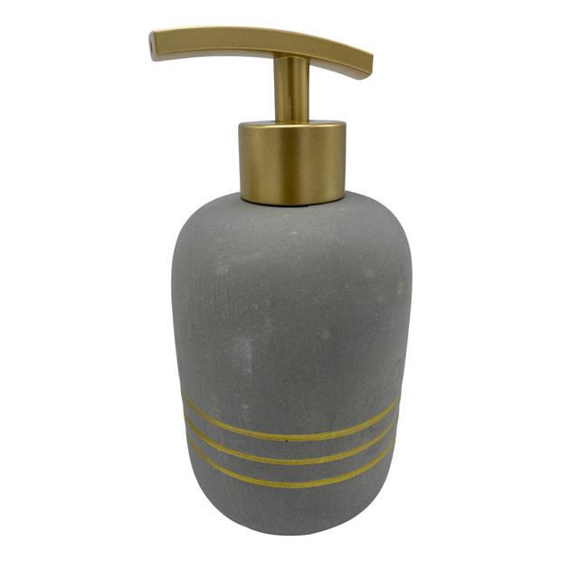 4goodz 3-delige Badkamer accessoires - grijs met gouden strepen