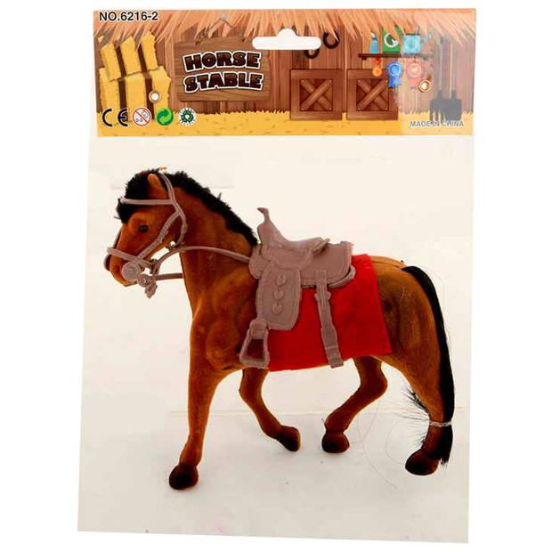 Jonotoys paard junior 22 x 18 cm bruin/rood 3-delig