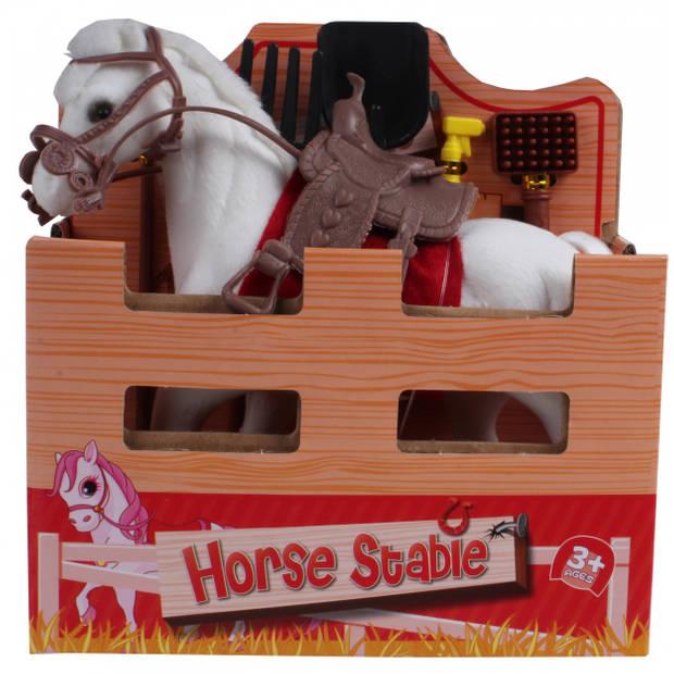 Jonotoys speelset paard junior 15 cm polyester wit 2-delig