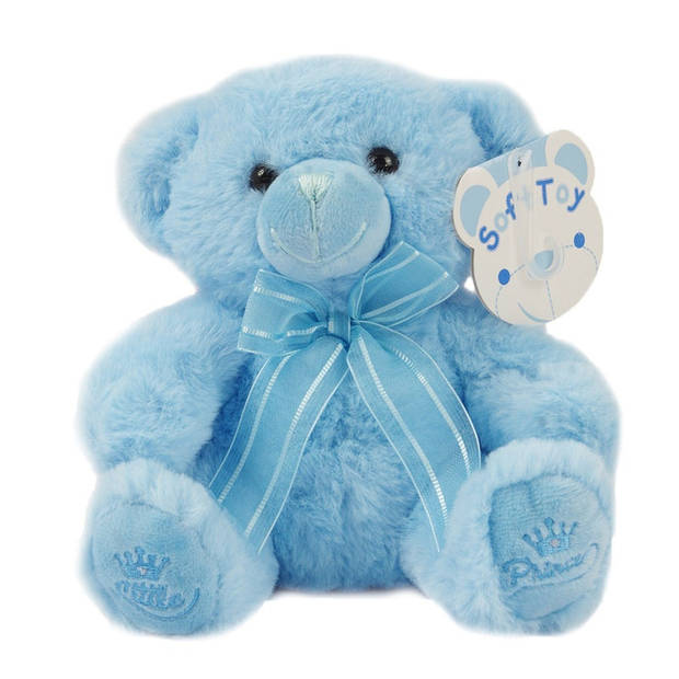 Soft Touch knuffelbeer Little Prince 18 cm polyester blauw